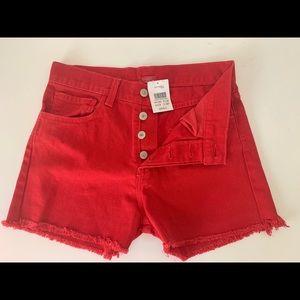 red denim john galt shorts/small/4 buttons/new